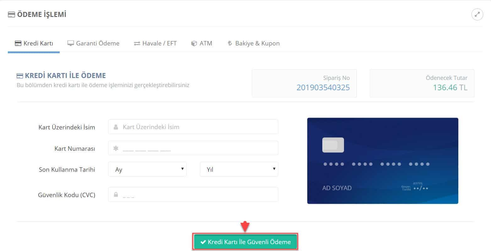 Turhost.com'dan hosting paketi satın alırken sadece kredi kartı ile değil, ATM'den, Garanti internet şubesinden ya da Havale-EFT ile de ödeme yapabilirsiniz.
