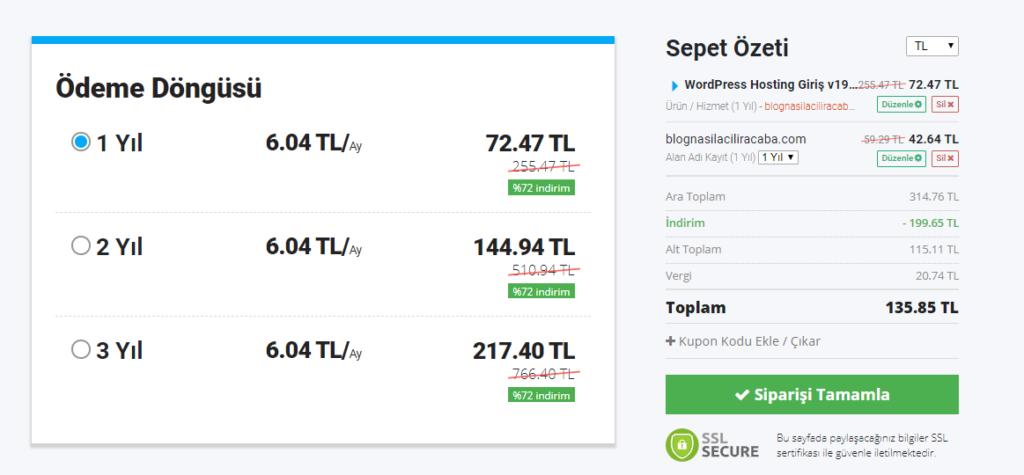 Turhost.com'dan hosting paketi alırken fiyatları TL ya da Dolar olarak görmek için sepet özeti ekranında,  sağ üst köşeden değişiklik yapabilirsiniz.