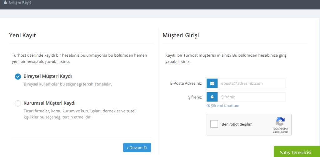 Turhost.com hosting paketi satın alma işlemi